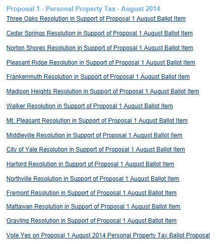 A list of communities that have approved resolutions urging residents to vote YES on Proposal 1.