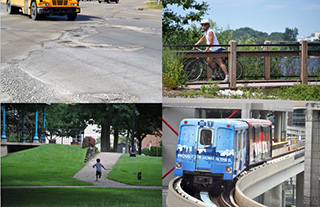 The League supports a comprehensive transportation funding solution that services all modes of transportation, including roads, rails, trails, and ports.