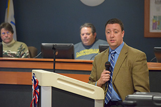 John LaMacchia discusses Proposal 1 at a recent Burton City Council town hall meeting.
