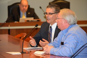Three Rivers City Manager Joseph Bippus and Mayor Thomas Lowry testify on the Dark Stores issue Dec. 9, 2015.