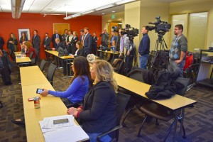 A large amount of media attend a news conference Tuesday on SB 571 at the Michigan Municipal League's Lansing office.