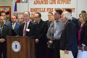 Roseville Mayor Robert Taylor kicks off Thursday's news conference at the Roseville Fire Department.