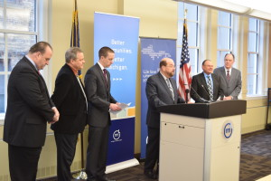 League President and Dearborn Mayor Jack O'Reilly leads a press conference announcing a lawsuit against PA 269.