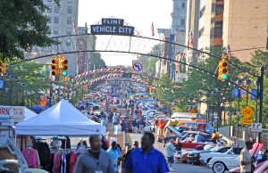 Downtown Flint during the 2013 Back to the Bricks event.