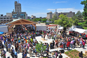 A birds-eye view from Flint's amazing Farmer's Market.