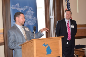 League staff John LaMacchia and Chris Hackbarth at the Legislative Committee Kick-Off Orientation Thursday.