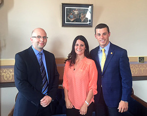 Rep. Lee Chatfield meets with Sault Ste. Marie City Manager Oliver Turner and City Clerk Robin Troyer in Lansing Wednesday.