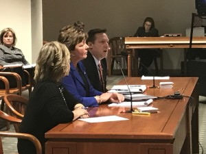 The League's Chris Hackbarth testifies about the proposed revenue sharing bills Tuesday, Dec. 5, 2017 in the House committee along with officials from the Michigan Association of Counties and Michigan Townships Association.