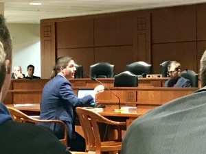 Port Huron City Manager James Freed testifies about the OPEB bill during a state House committee meeting Tuesday morning.